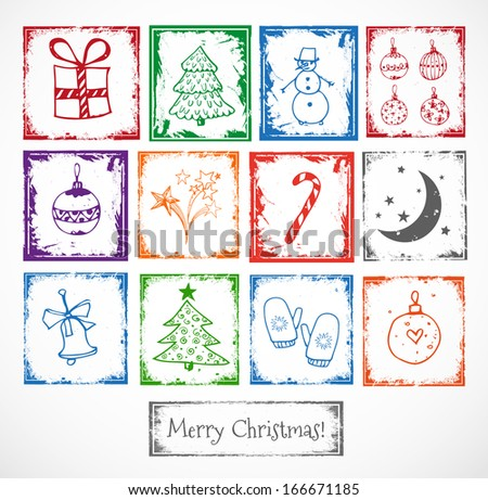 Christmas stamps. Stamps with symbols of Christmas. Perfect for scrapbooking.  Vector illustration. - stock vector