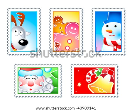 Christmas stamps with Rudolf, Santa, Snowman, Gingerman and bell