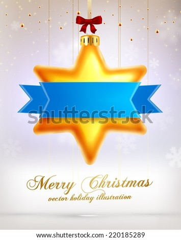 Christmas Star Ball with Ribbon. Xmas Decorations. Blur Silver Snowflakes. Holiday Design for New Year Greeting Cards, Posters and Flyers. Vector.  - stock vector