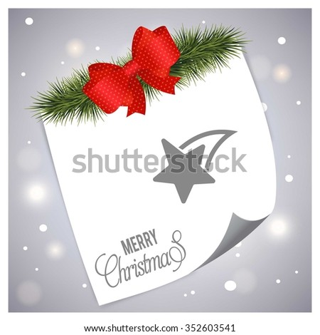 Christmas Star. Christmas tree fir with page curl background on glowing star Gray backgrounds - stock vector