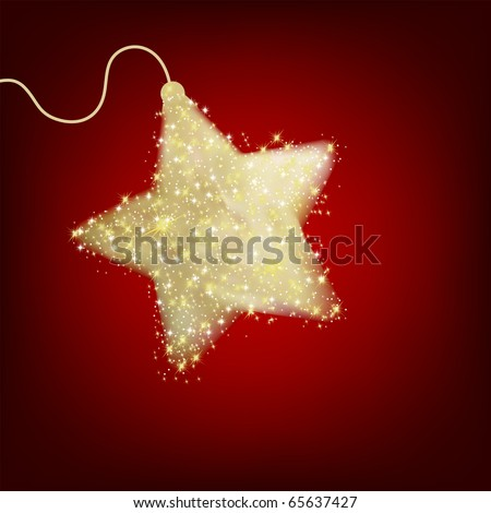 Christmas star illustration - postcard with a twinkling red star. EPS 8 vector file included - stock vector