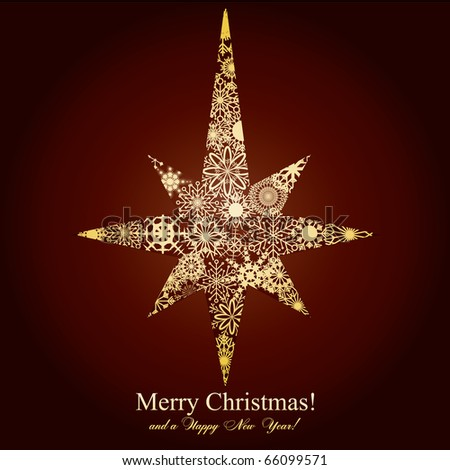 Christmas star made from snowflakes on brown background, vector illustration - stock vector