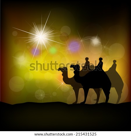 Christmas star on a gold background. Vector - stock vector