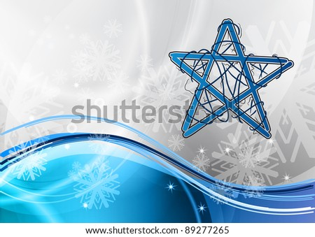 christmas star on the blue - stock vector