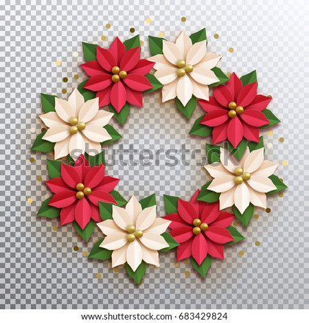Christmas star paper poinsettia red white stock vector 683429824 paper poinsettia red and white flowers wreath vector illustration icon isolated mightylinksfo