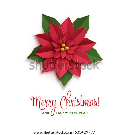 Christmas star poster paper poinsettia red stock photo photo christmas star poster with paper poinsettia red flower with inscription vector illustration icon isolated mightylinksfo