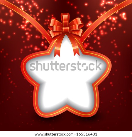 Christmas Star with Bow - stock vector