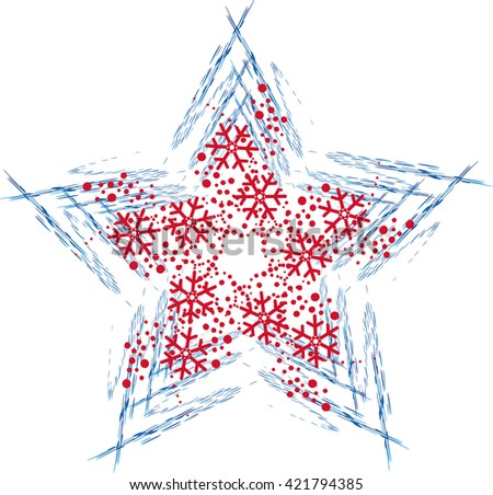 Christmas star with snowflakes - stock vector