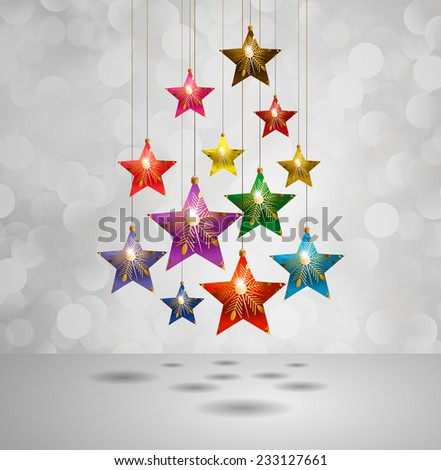 Christmas stars on a winter background with bokeh defocused lights., shiny effect, Happy New Year vector background