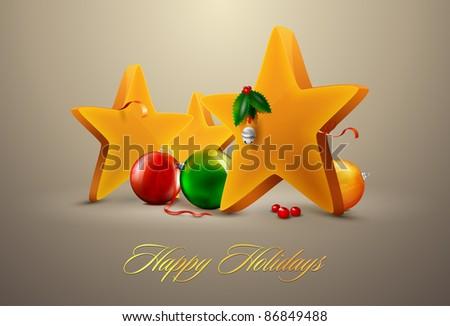 Christmas Stars with decorating balls | Editable EPS. 10 vector - stock vector