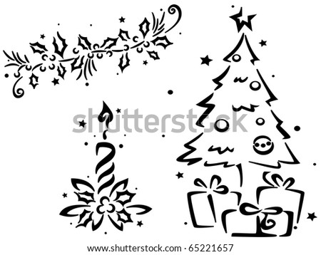 Christmas Stencil Featuring a Christmas Tree and Other Christmas Decor - stock vector