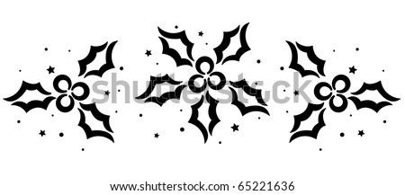 Christmas Stencil Featuring a Group of Poinsettias - stock vector