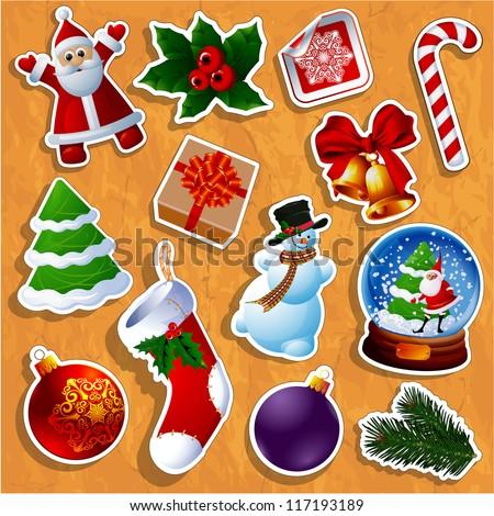 Christmas sticker icons. Vector. - stock vector