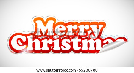 christmas sticker with white background, vector illustarion - stock vector