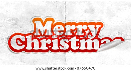 christmas sticker with white background, vector illustration - stock vector