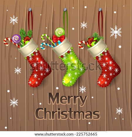 Christmas stocking and presents - stock vector