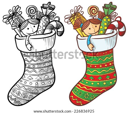 Christmas stocking with gifts, color and doodle version - stock vector