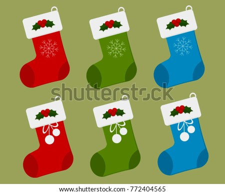 Christmas Stockings in red, green and blue color with Snowflake, Bow and Holly