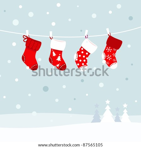 Christmas stockings in winter nature - white and red - stock vector