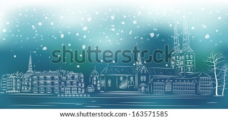 Christmas Street view in the old city - stock vector