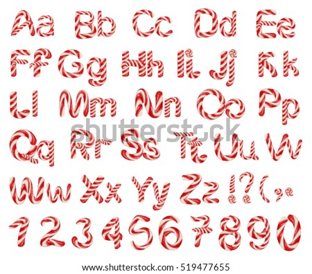 Christmas striped candy alphabet letters. Isolated on white vector illustration