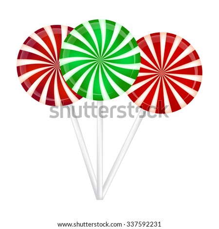 Christmas striped Lollipop set. Spiral sweet candy with stripes. Vector illustration isolated on a white background. - stock vector
