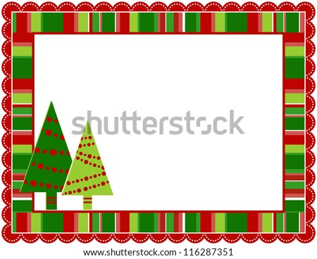 Christmas Stripped Frame - Christmas stripped patterned frame with scalloped border - stock vector