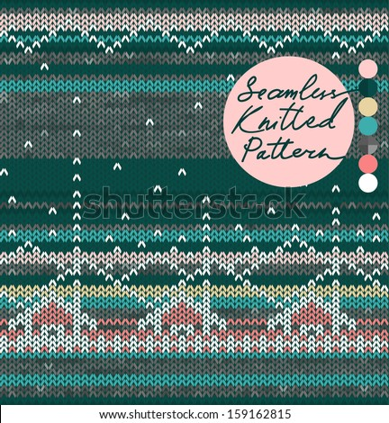 Christmas Stylized Landscape with Houses, Knitting Seamless Pattern, Vector illustration - stock vector