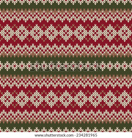 Christmas Sweater Design. Seamless Knitted Pattern in traditional Fair Isle s...