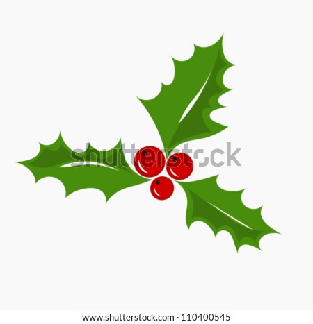 Christmas symbol holly berry, vector illustration. - stock vector