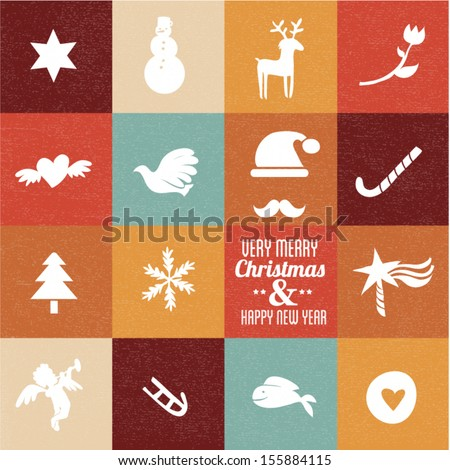 christmas symbols & icons in vintage colours - set 1 - stock vector