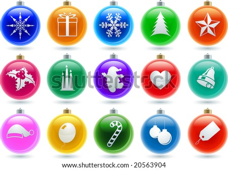 Christmas symbols in the balls. Easy editable objects. Elements are layered separately in vector file. - stock vector