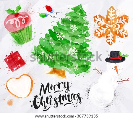 Christmas symbols lettering Merry Christmas with cupcake, Christmas tree, gift, cookie, snowman, garland, snowflake drawing in vintage style on crumpled paper - stock vector