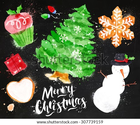 Christmas symbols lettering Merry Christmas with cupcake, Christmas tree, gift, cookie, snowman, garland, snowflake drawing in vintage style on blackboard - stock vector