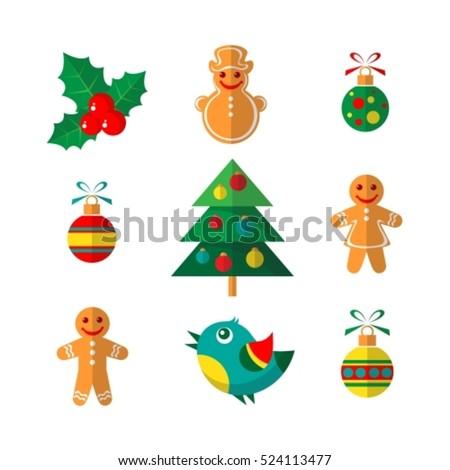 Christmas Symbols Set Isolated On White Stock Vector 524113477