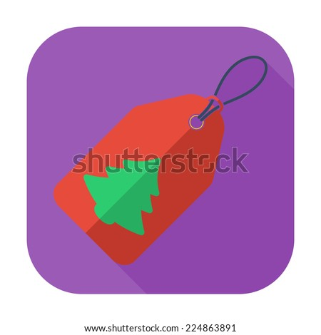 Christmas tag. Single flat icon on the button. Vector illustration. - stock vector