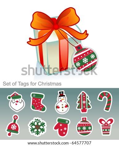 Christmas tags vector - stock vector