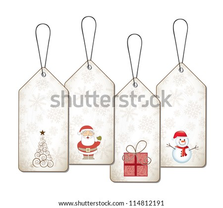 Christmas tags with gifts, tree, Santa Claus and snowmen vector illustration - stock vector