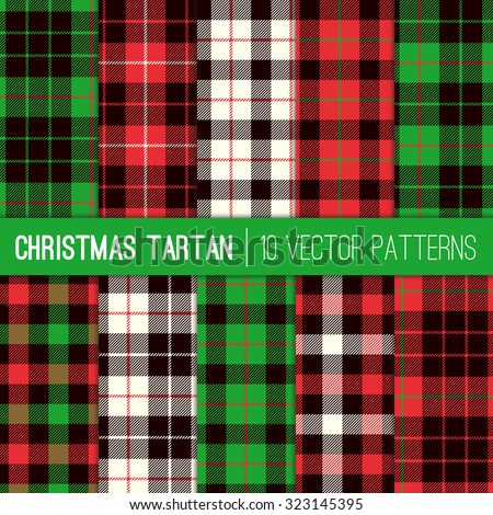 Christmas Tartan Plaid Patterns. Red, Green, White and Black Tartan Plaid and Pixel Gingham Check Patterns. Modern Tartan Xmas Backgrounds. Vector EPS File Pattern Swatches made with Global Colors. - stock vector