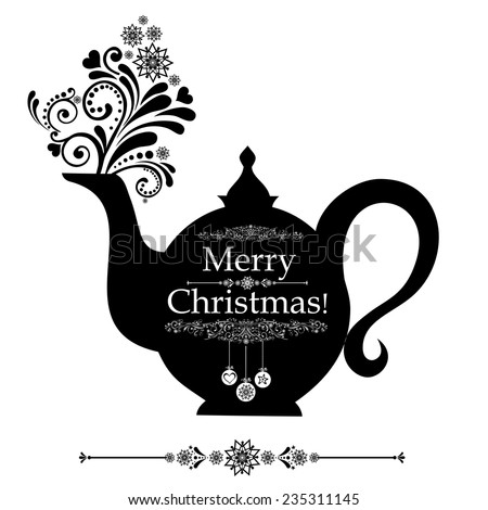 Christmas teapot with floral design elements. Christmas menu design. Vector Illustration  - stock vector