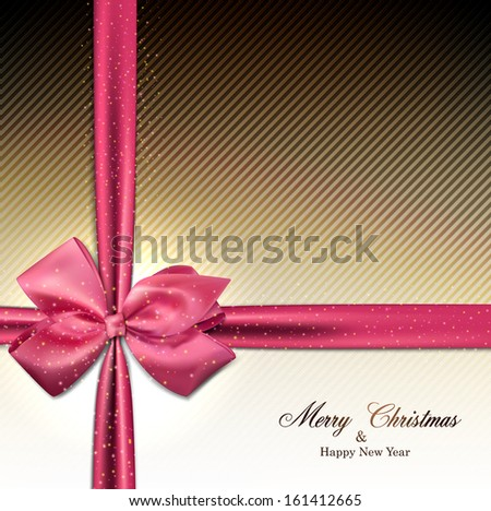 Christmas textured sparkle background with pink bow. Vector eps10. - stock vector