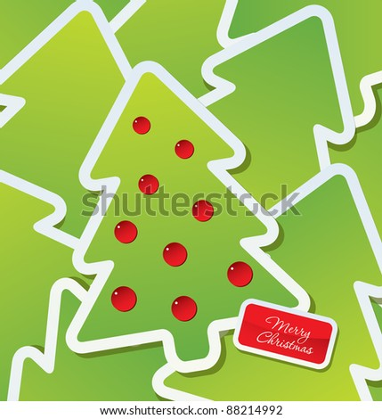 Christmas theme - Decorated green Christmas tree labels - stock vector