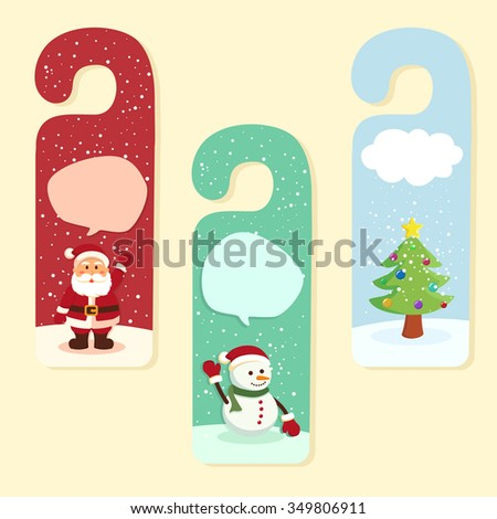 Christmas theme door hanger with santa claus, snowman, and christmas tree. - stock vector