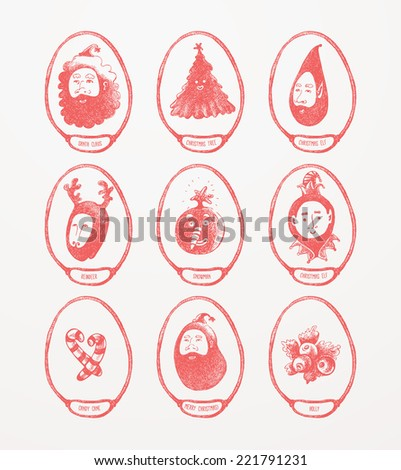 Christmas Theme Medallions - stock vector