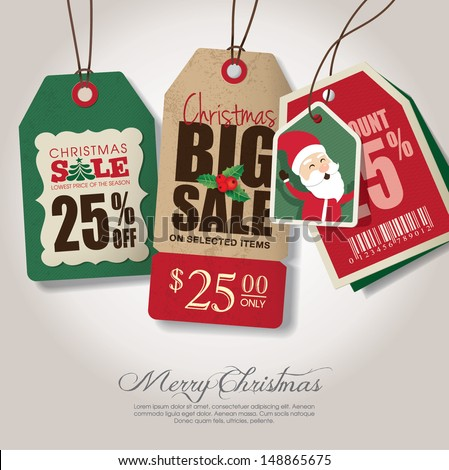 Christmas theme sale tags - stock vector