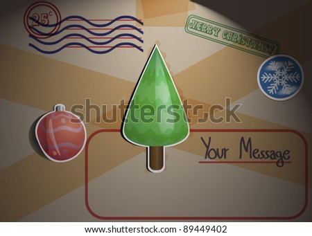 Christmas Themed Package Greeting Card Illustration - stock vector
