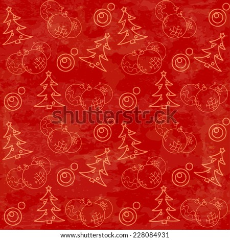 Christmas themed seamless pattern with baubles and firs - stock vector