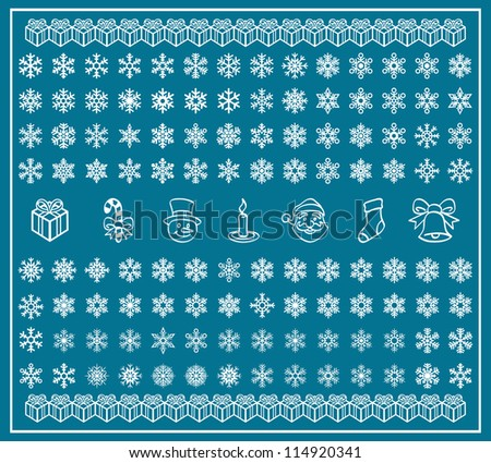 Christmas Themes; Snowflakes and Christmas Icons; New Year; Winter Vector Set; Shape