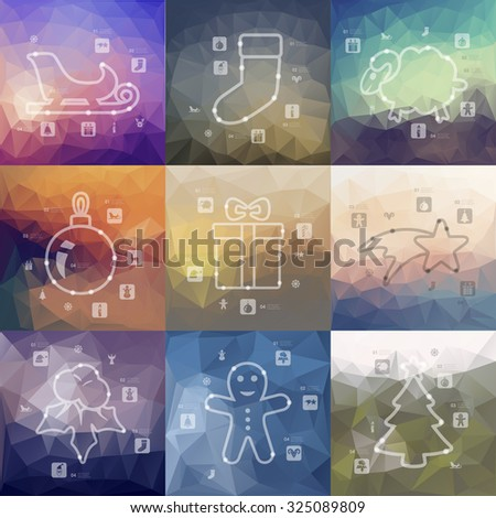 Christmas timeline presentations with blurred unfocused background - stock vector