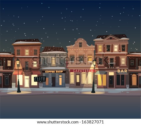 Christmas town illustration. Seamless pattern - stock vector